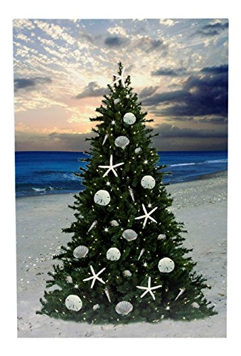 Christmas-Tree-on-the-Beach-with-Sand-Dollars-and-Starfish-LED-Lighted-Canvas-Print