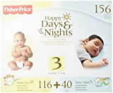 Fisher Price Happy Day and Night Baby Diapers Size 3, 156 Count