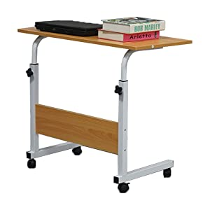 SSLine Side Table Mobile Laptop Computer Desk for Bed Sofa, Portable Breakfast TV Tray Height Adjustable Coffee End Table U-Shaped Overbed Table with Wheels - Wood Color (Color: Wood, Tamaño: 31.5 x 15.75 x 33.86 in)