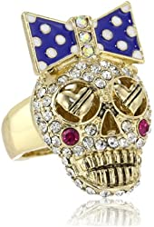 """Betsey Johnson """"Ivy League"""" Crystal Stretch Ring, Size 7.5"""