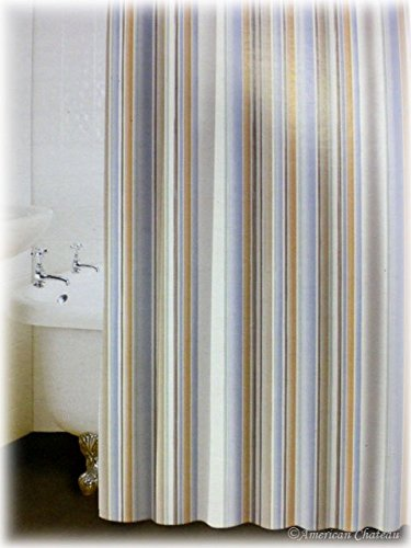 NEW CHIC Beach SEASIDE VERTICAL Striped Bath Bathroom Fabric Shower Curtain