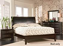 Hot Sale Cappuccino Platform Queen Size Bed with Beautiful Cappuccino Finish