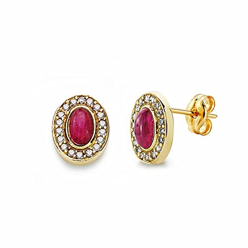 18k gold earrings red stone 9mm. zircons [AA2341]