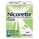 Nicorette Stop Smoking Aid, 2 mg, Gum, Mint, 170 pieces