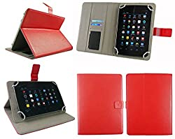 Emartbuy® Vizio Vz-706 Tablet 7 Inch Universal Range Red Plain Multi Angle Executive Folio Wallet Case Cover With Card Slots + Stylus