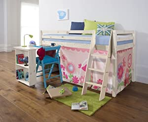 Cabin Bed with Desk in FLORAL Design , Whitewash Bed with Tent WHITEWASH WW