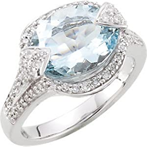 IceCarats Designer Jewelry 14K White Gold Genuine Aquamarine And Diamond Ring. Size 6