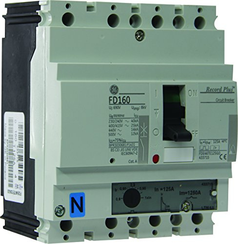 General Electric AUN433715 Moulded Case Circuit Breaker Record In More FDE 4 Pole 125 25 kA Icu Amp