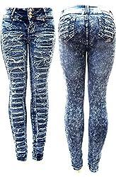 K617 Acid Wash BLUE Denim JEANS Destroy Skinny Ripped Distressed Pants
