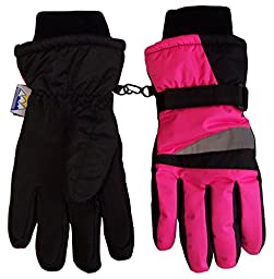 N\'Ice Caps Kids Bulky Thinsulate and Waterproof Winter Ski Glove With Ridges (4-5yrs, Neon Pink/Black)