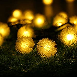 [Updated 50 LEDs] LUCKLED Outdoor Solar String Lights, 23ft Warm White Fairy Chuzzle Ball Christmas Lights Decorative Lighting for Indoor, Garden, Home, Patio, Lawn, Party and Holiday Decorations