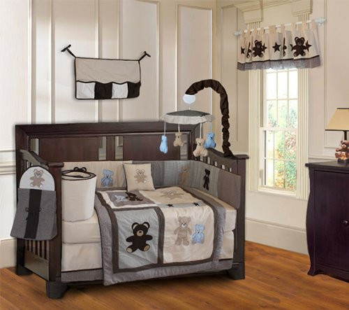 BabyFad Teddy Bear 10 Piece Boys Baby Crib Bedding Set