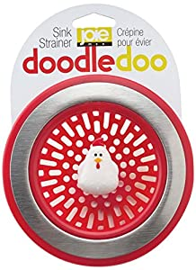 Doodle Doo Rooster Novelty Kitchen Sink Strainer-Red, Set of 2