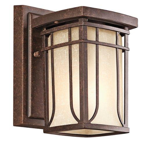Kichler Lighting Kichler 49146AGZ Riverbank 1-Light Outdoor Wall Lantern, Aged Bronze with White Linen Mist Glass