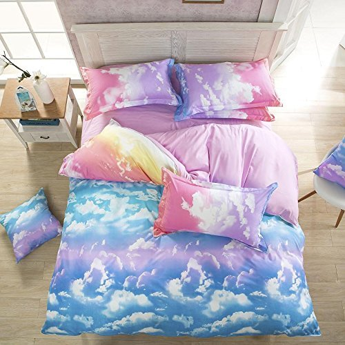 Ttmall Twin Full Queen Size 4-pieces Cotton&microfiber Rainbow Cloud for Girls Prints Duvet Cover Set/bed Linens/bed Sheet Sets/bedclothes/bedding Sets/bed Sets (Queen, 4pcs Without Comforter)