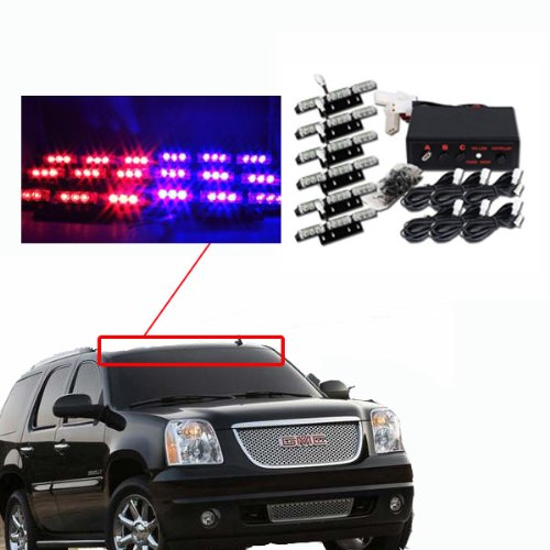 Rupse 54 LED Emergency Vehicle Strobe Lights/Lightbars Deck Dash Grille -Red & Blue