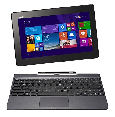 Asus T100TAF-BING-DK024B Transformer Book Notebook Convertibile in Tablet, Processore Intel Atom Quad Core Z3735F, Display 10 Pollici Touchscreen Glare, RAM 2 GB, SSD 32 GB, Nero/Antracite