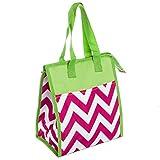 Womens Nylon Insulated Lunch Tote Bag (Fuchsia & White Chevron w/ Green Trim)