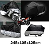 XL Motorbike Motorcycle Water Resistant Dustproof UV Protective Breathable Cover Outdoor Indoor Extra Larger with Storage Carry Bag (Black)by eLifeStore