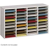 Safco Products Wood Adjustable Literature Organizer, 36 Compartment, Gray, 9424GR