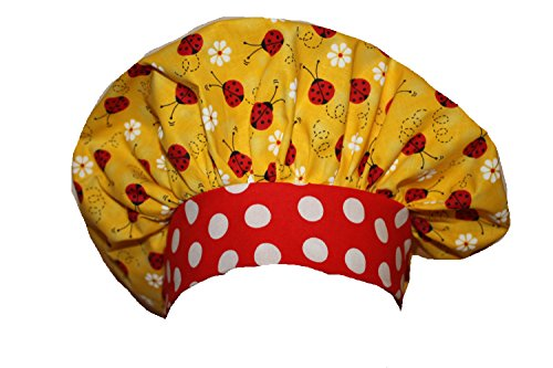 Scrub Cap Surgical Chemo Chef Nurse Dr Hat Yellow Red Ladybugs Dots Bouffant