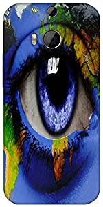 Snoogg World Map Around An Eye 2847 Designer Protective Back Case Cover For HTC M8