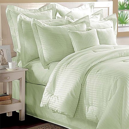 Sage Woven Stripe Cotton Comforter Set, King
