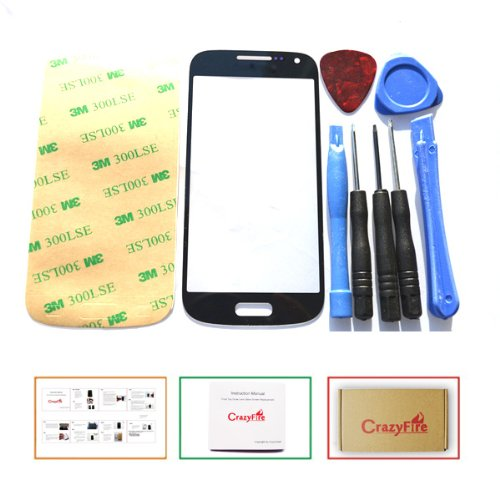 Us Stock Crazyfire® Free Shipping Black New Front Outer Screen Lens Glass Replacement For Samsung Galaxy S4 Mini I9190+Adhesive+Tools+Instruction Manual+Crazyfire Box