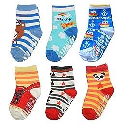TotMart Boys\' Toddler 6-Pack Non Skid Ankle Socks, Orange Panda Bear