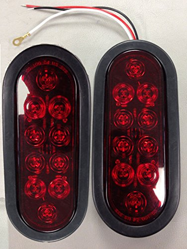"""1 Pair (2 Total) New Trailer Truck Led Sealed Red 6"""" Oval Stop Turn Tail Lights"""