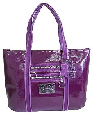 coach poppy patent glam shoulder book bag purse tote 13836 amethyst purple co uk shoes