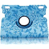 "360 Degrees Rotating Stand Embossed Flower Pattern PU Leather Smart Case for Kindle Fire HDX 7""(will only fit Kindle Fire HDX 7 inch Tablet 2013) -Blue"