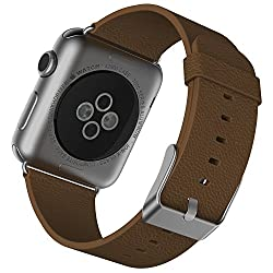 Apple Watch Band, JETech 42mm Leather Strap Wrist Band Replacement w/ Metal Clasp for Apple Watch All Models 42mm - Brown