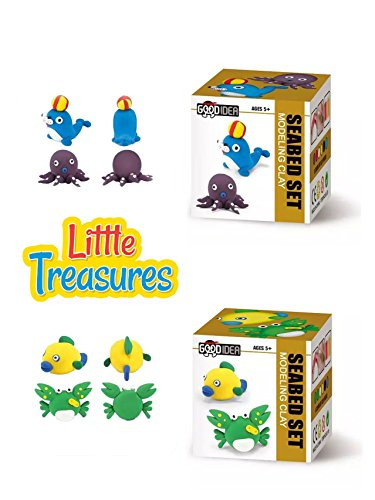 Molding Air-Dry Clay play-dough kits - Set of 2 individual 2-in-1 create your 3D cute sea models make a crab, fish, dolphin & octopus - fun arts & craft kid's project Clay sculpting play-set (Air Dry Dough compare prices)