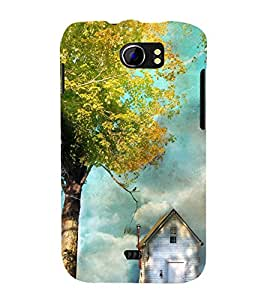 printtech Beautiful House Tree Back Case Cover for Micromax Canvas 2 A110 / Micromax Canvas 2 Plus A110Q