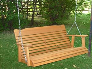4' Cedar Porch Swing W/stained Finish, Amish Crafted - Includes Chain & Springs from Kilmer Creek