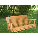 4' Cedar Porch Swing W/stained Finish, Amish Crafted - Includes Chain & Springs