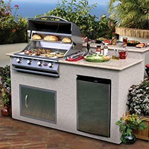 72 bbq island 4 burner gas grill with for Gas grill tops outdoor kitchen