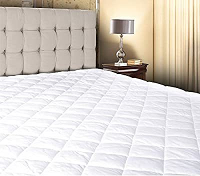 "White Cotton - Poly Hypoallergenic Comfortable Soft - Queen Size Quilted Fitted Mattress Pad Cover 60"" x 80"" - Up To 20"" Deep by Abit Comfort"