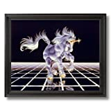 Unicorn The Grid Magical Kids Room Fantasy Home Decor Wall Picture Black Framed Art Print