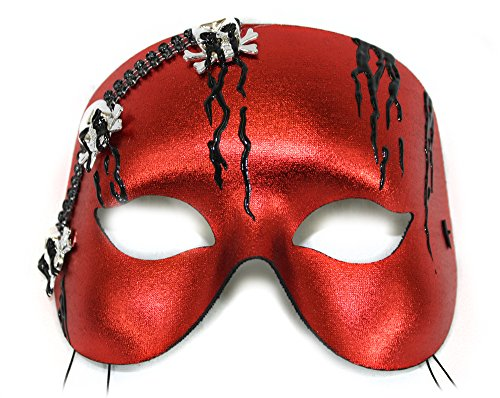 Marauder Red with Skulls Scary Men's Masquerade Mask