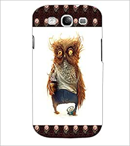 PrintDhaba Funny Owl D-4503 Back Case Cover for SAMSUNG GALAXY S3 (Multi-Coloured)