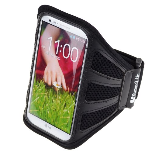 Sumaclife Reflective Workout Sports Armband For Lg G2 Lg Nexus 5 Lg Nexus 4 (Black-Mesh)