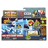 The Angry Birds app comes to life! This line of Hasbro toys captures all the launching and destroying fun of the app in physical form and features your favorite Star Wars characters re-imagined as high-flying Angry Birds and villainous pigs! Stack the blocks in this set and put your exclusive Count Dooku Pig figure on his platform on top. Then set your Anakin Skywalker Bird figure on the launcher and fire away! It's easy to take the game to your mobile device (sold separately) and unlock your figures in the app! Just download the app and then put the Telepods base and any of your figures on your device. Once you've scanned your figures into the app, you can unlock those characters! Destroy the stack and battle the count with the Duel with Count Dooku Set!Set includes 2 figures, 1 Telepods base, 6 blocks, 1 platform, 1 launcher and instructionsStar Wars products are produced by Hasbro under license from Lucasfilm Ltd. Hasbro and all related terms are trademarks of Hasbro.