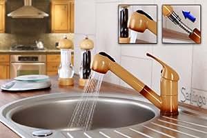 Marron robinet mitigeur de cuisine douchette extensible sanlingo