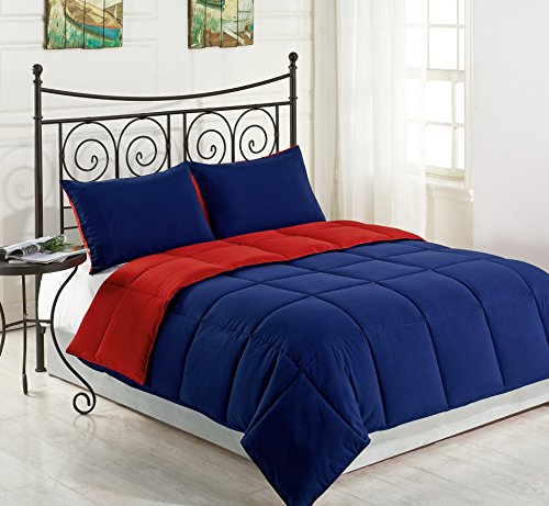 Cozy Beddings Goose Down Alternative Comforter Set, Full/Queen, Red/Blue