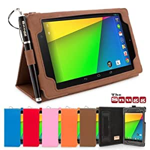 Snugg Nexus 7 2 FHD Case - Smart Cover with Flip Stand & Lifetime Guarantee ('Distressed' Brown Leather) for Google Nexus 7 2 FHD (2013)