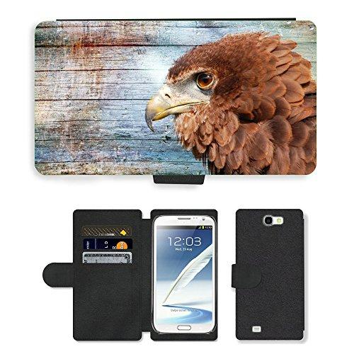 GoGoMobile, cellulare, carte, Custodia a portafoglio in similpelle e M00118243 Raptor Bill Adler Pantofola con animale in legno, per Samsung Galaxy Note 2 II N7100