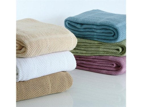 100% Cotton Twin Thermal Blanket, Green front-824901
