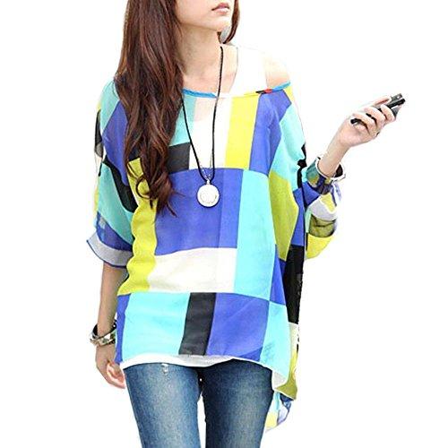 Camicie e Bluse Top Donna - LATH.PIN Maglietta Manica 3/4 Bohemian Chiffon Camicetta Estate T Shirt Stampa